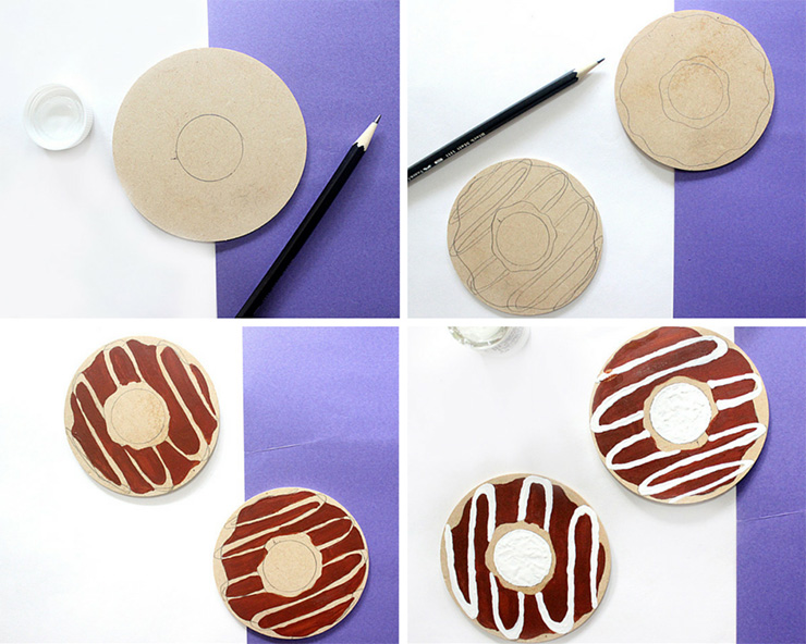 diy donut coasters steps