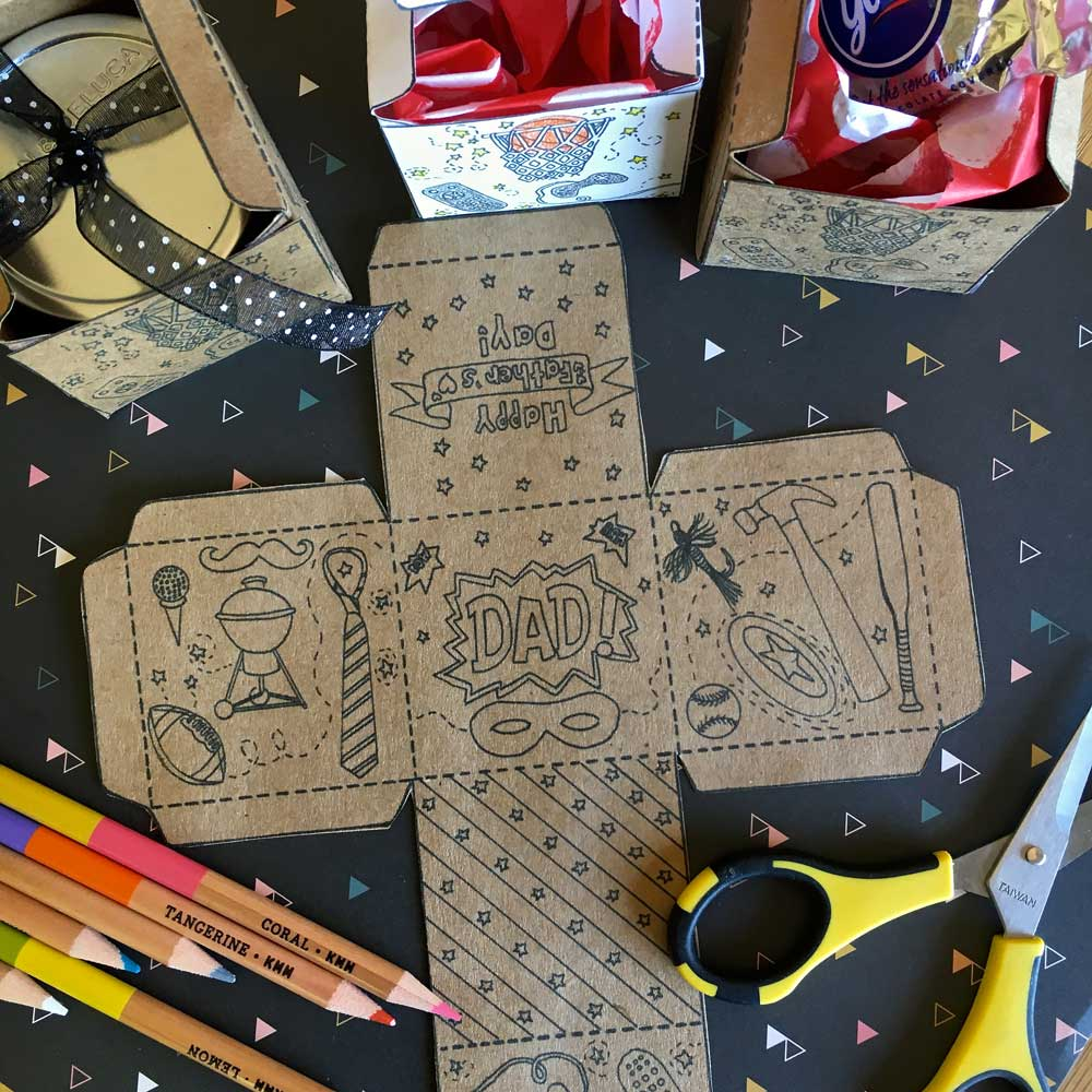 printable colouring box