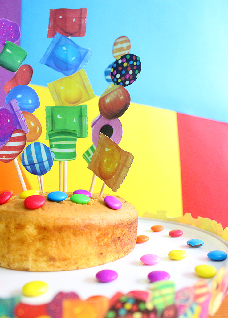 Make candy crush cake toppers and stand