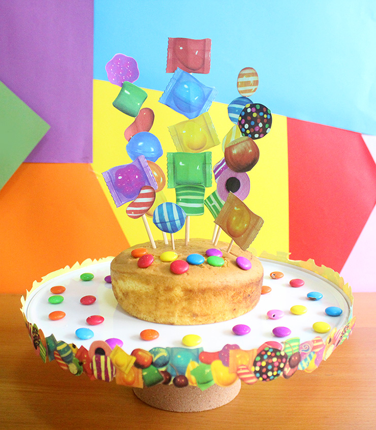 Printable candy crush cake stand and topper