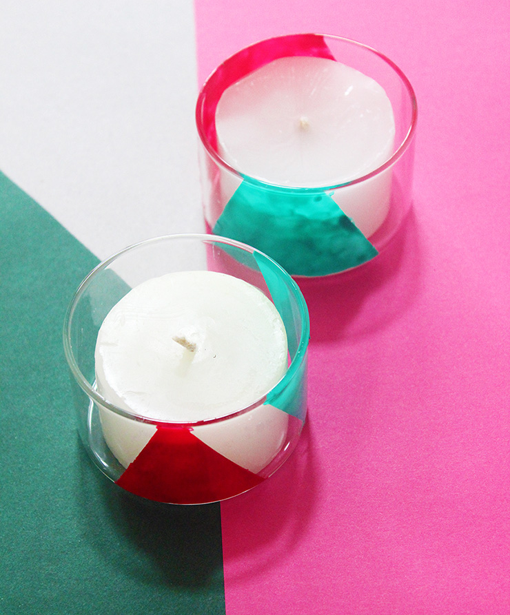 colorblock DIY candle holders