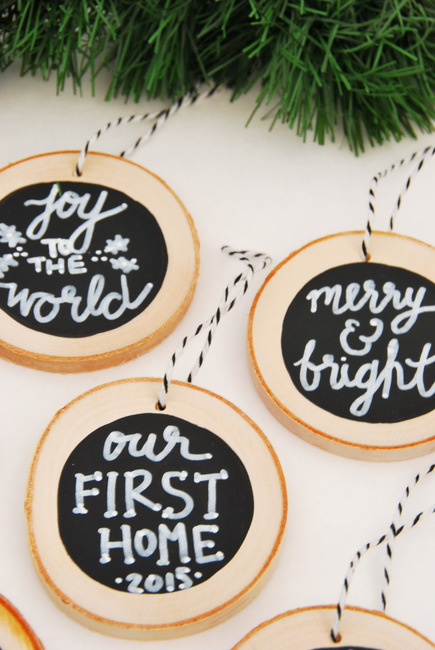 wood slice ornaments with chalkboards