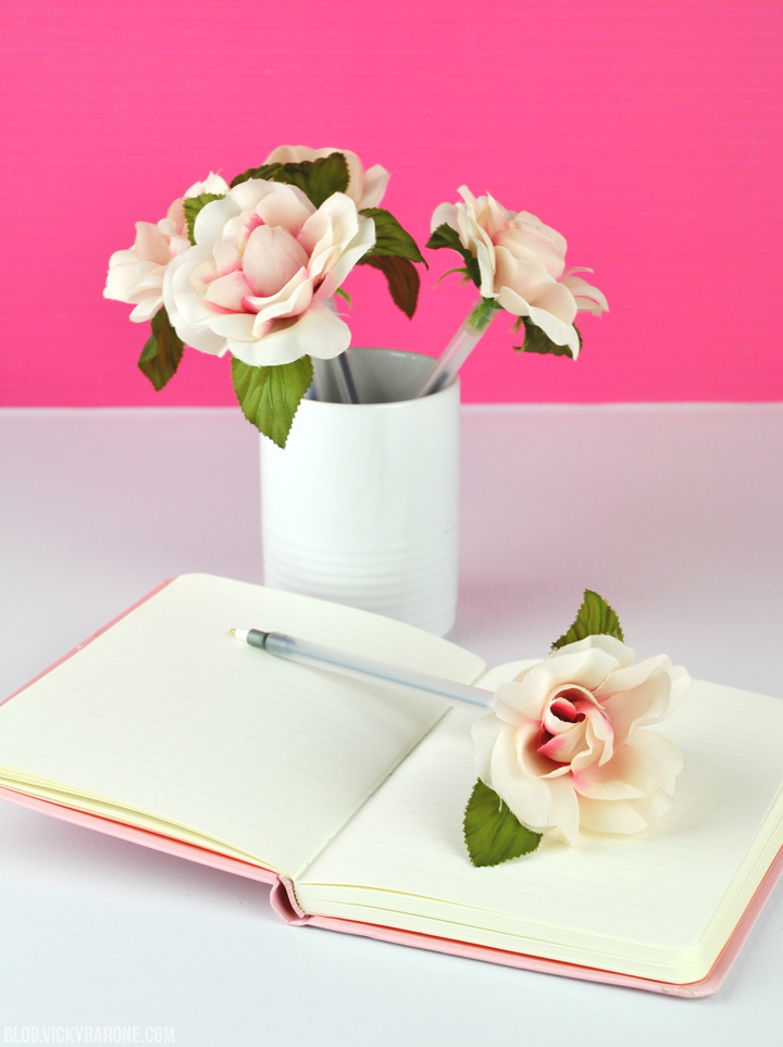 DIY Flower Pens by Vicky Barone