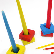 Recycled Candle Holders with Shape Sorters!