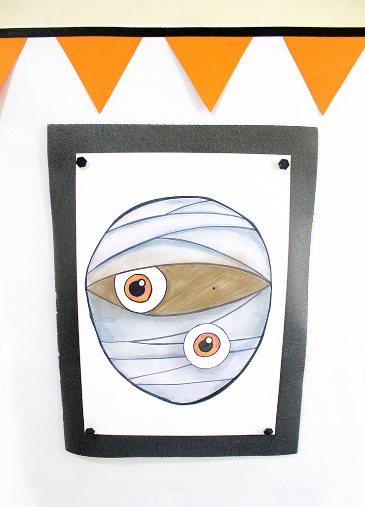 pin the mummy eye halloween game