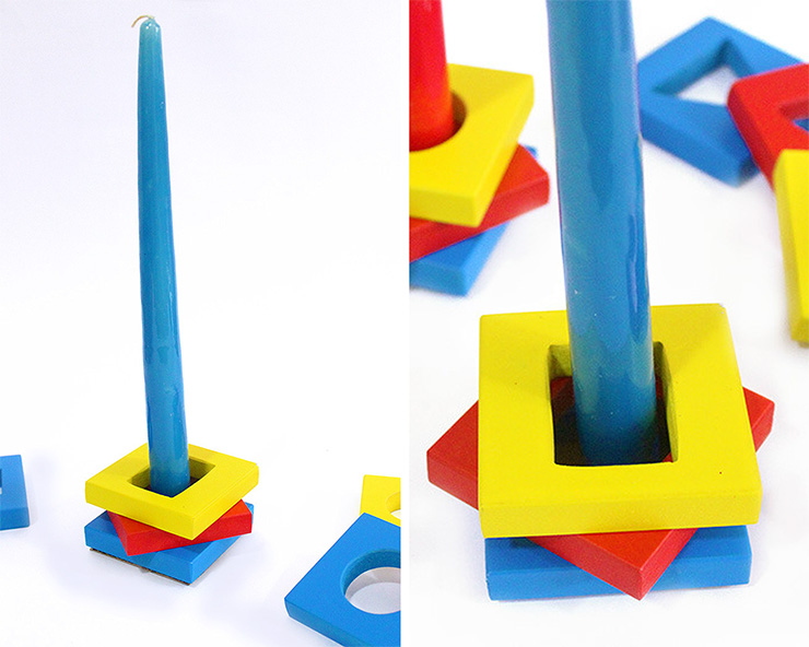 building blocks candle holders
