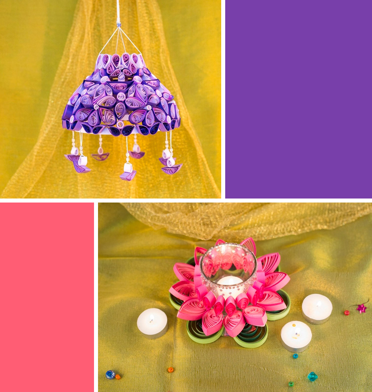DIY Diwali Diya and Lantern with quilling
