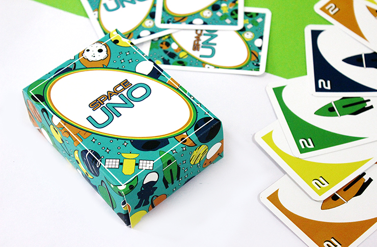 Space themed uno card game for kids