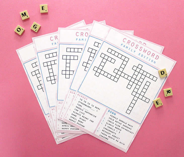 Customised crossword puzzles and designwork. Order online with The Craftables. Bespoke designs. Printable or complete sets
