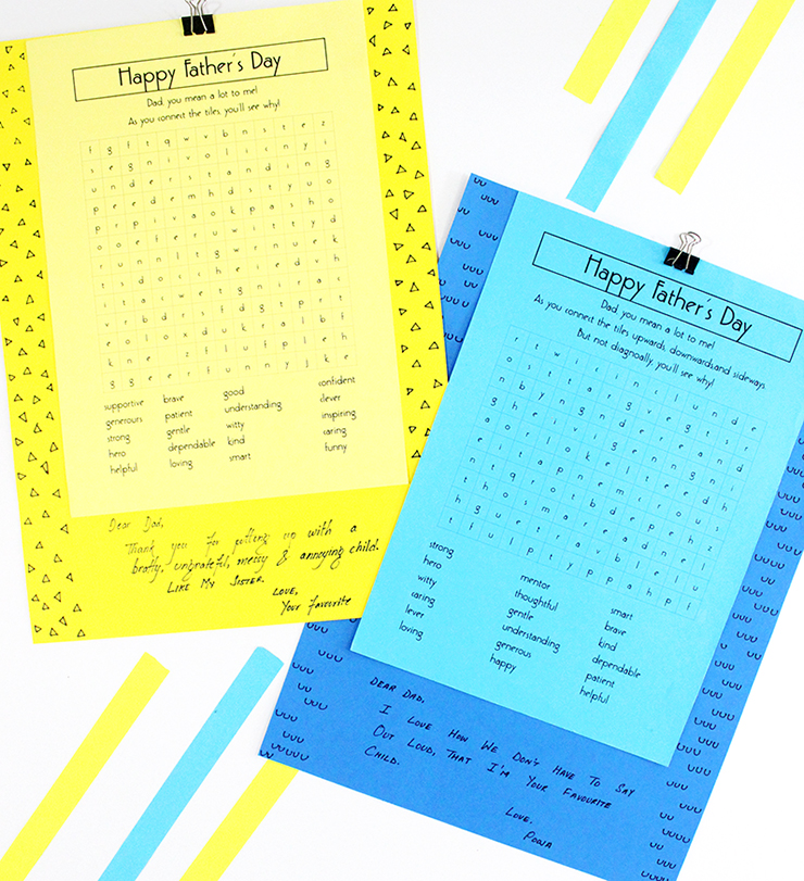 DIY Father's Day Puzzles Cards