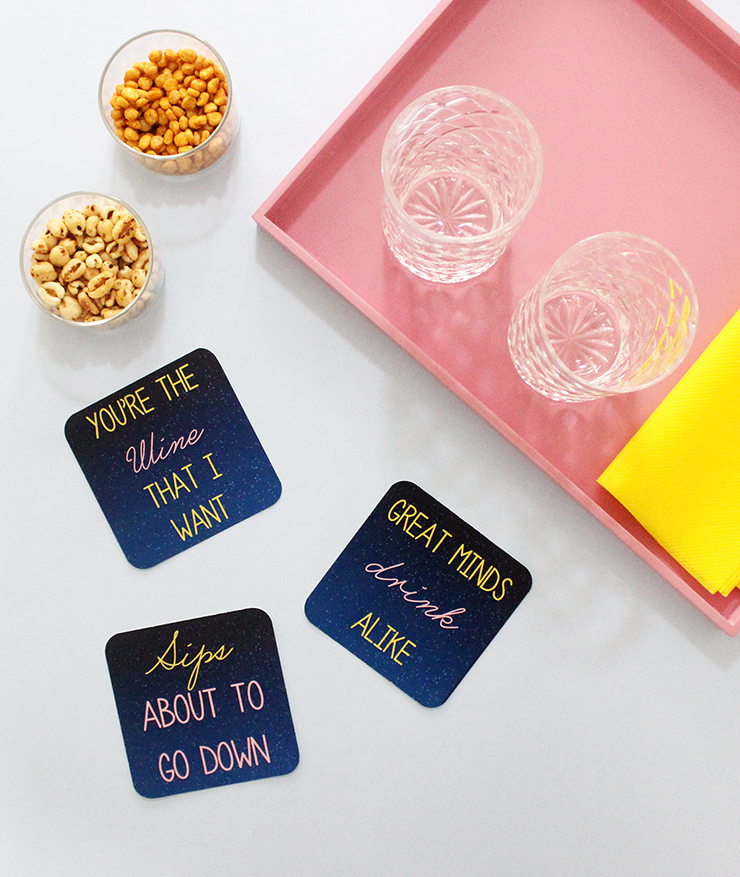 DIY tutorial for Printable Puntastic Party Coasters! for free