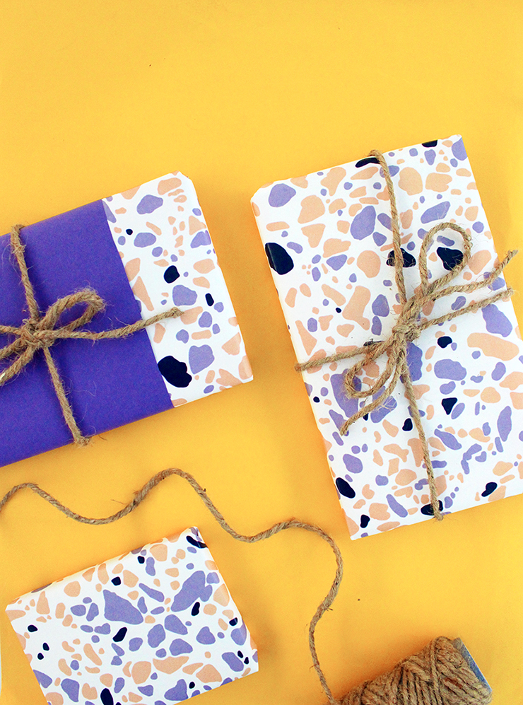 Free Printable Terrazzo Wrapping Paper Tutorial by The Craftables