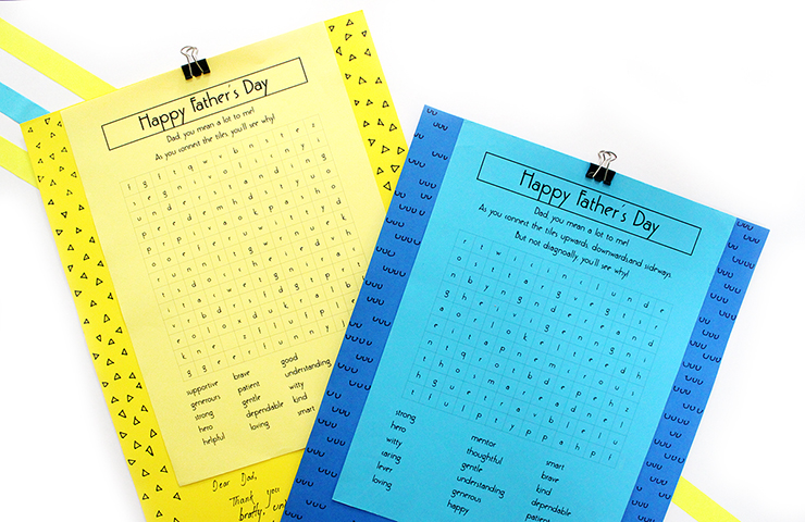 How to make a quick father's day card using printable puzzles