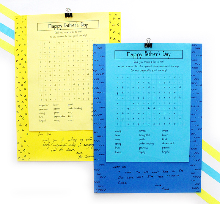 Scramble Father's Day Puzzle Printables freebies