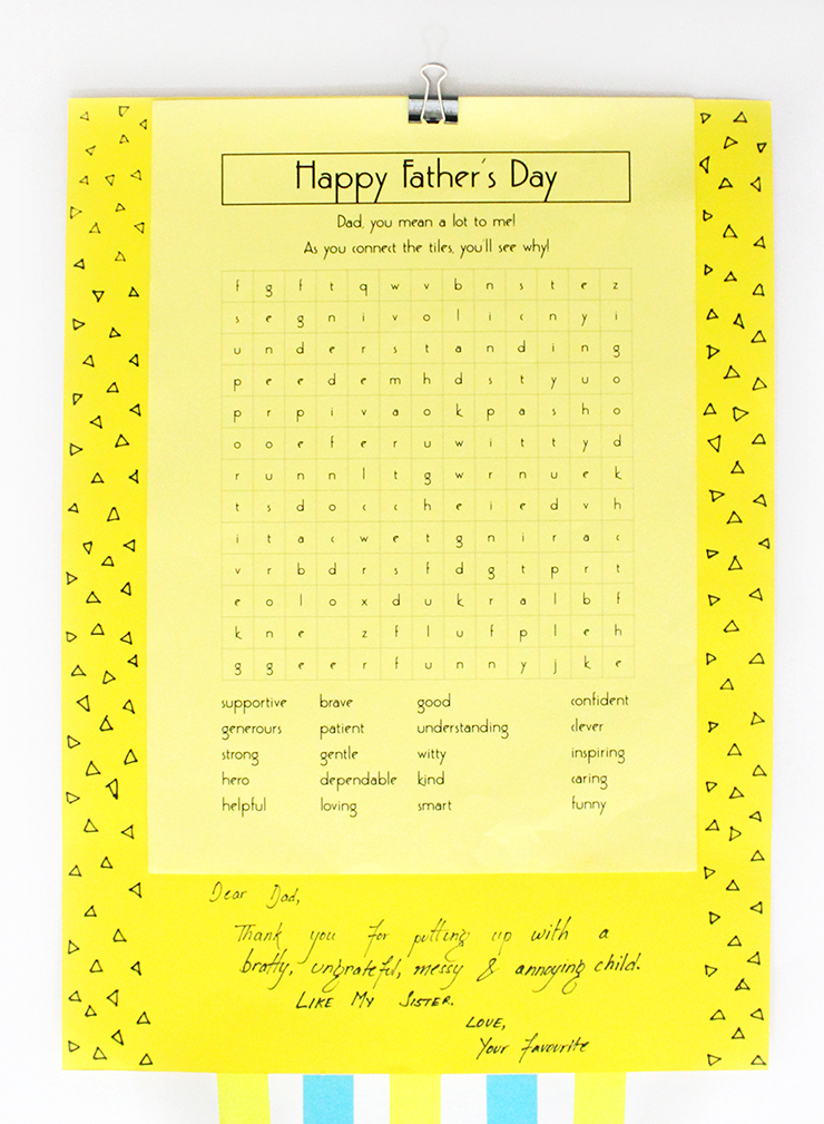 how to diy a printable puzzle father's day card for kids