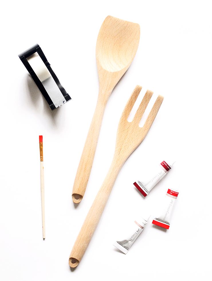 Materials to paint diy salad spoons | Pinterest Tutorials Tried Out | The Craftables