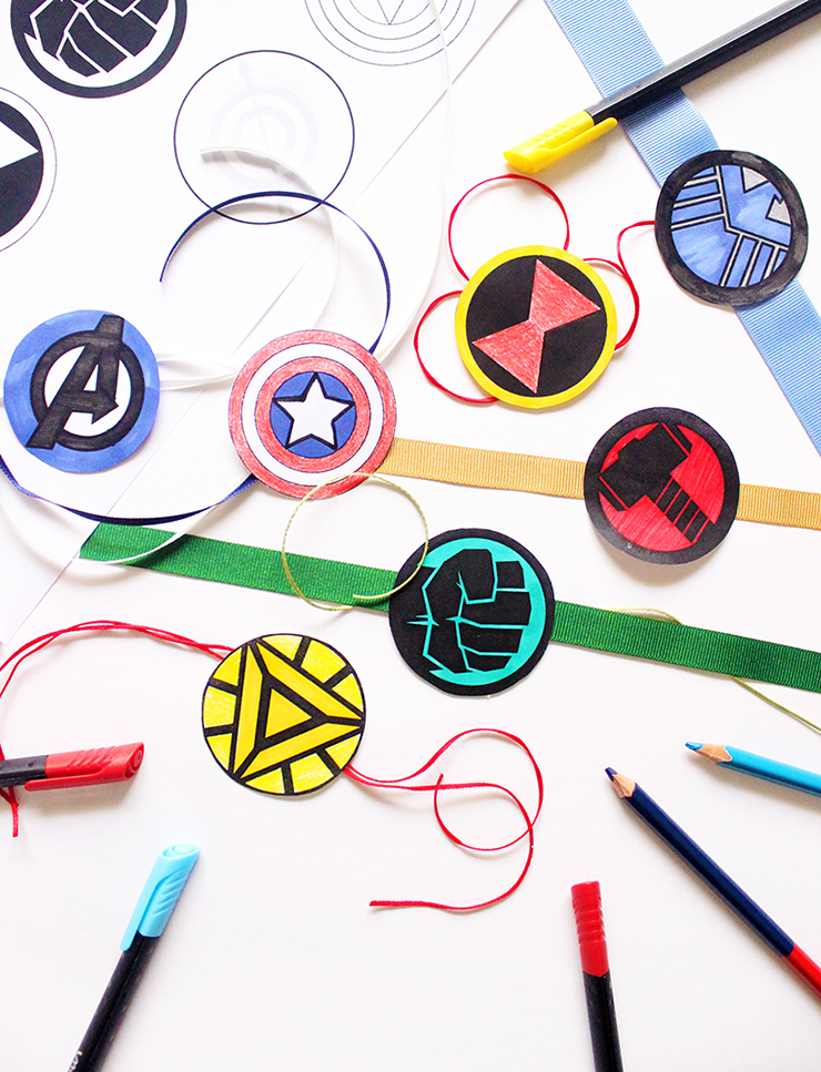 Colour In Printable Rakhis | Avengers Themed | The Craftables Tutorial