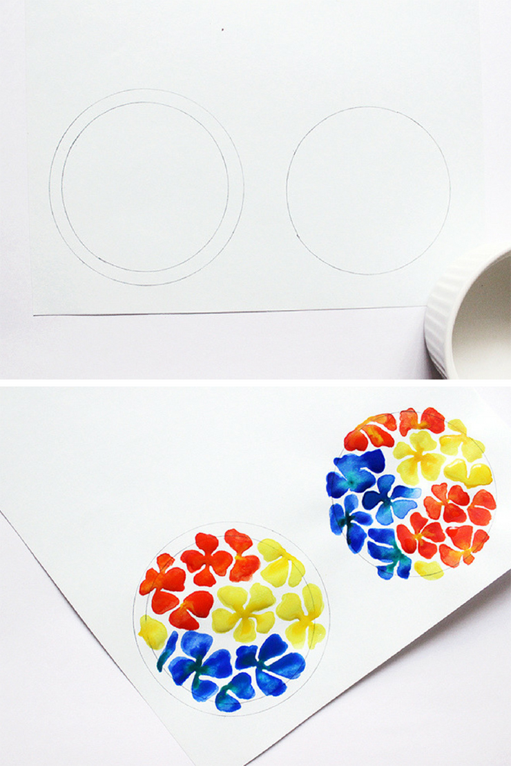 Steps to make watercolor flowers on trinket dishes| DIY Upcycled Trinket Dishes | The Craftables Tutorial