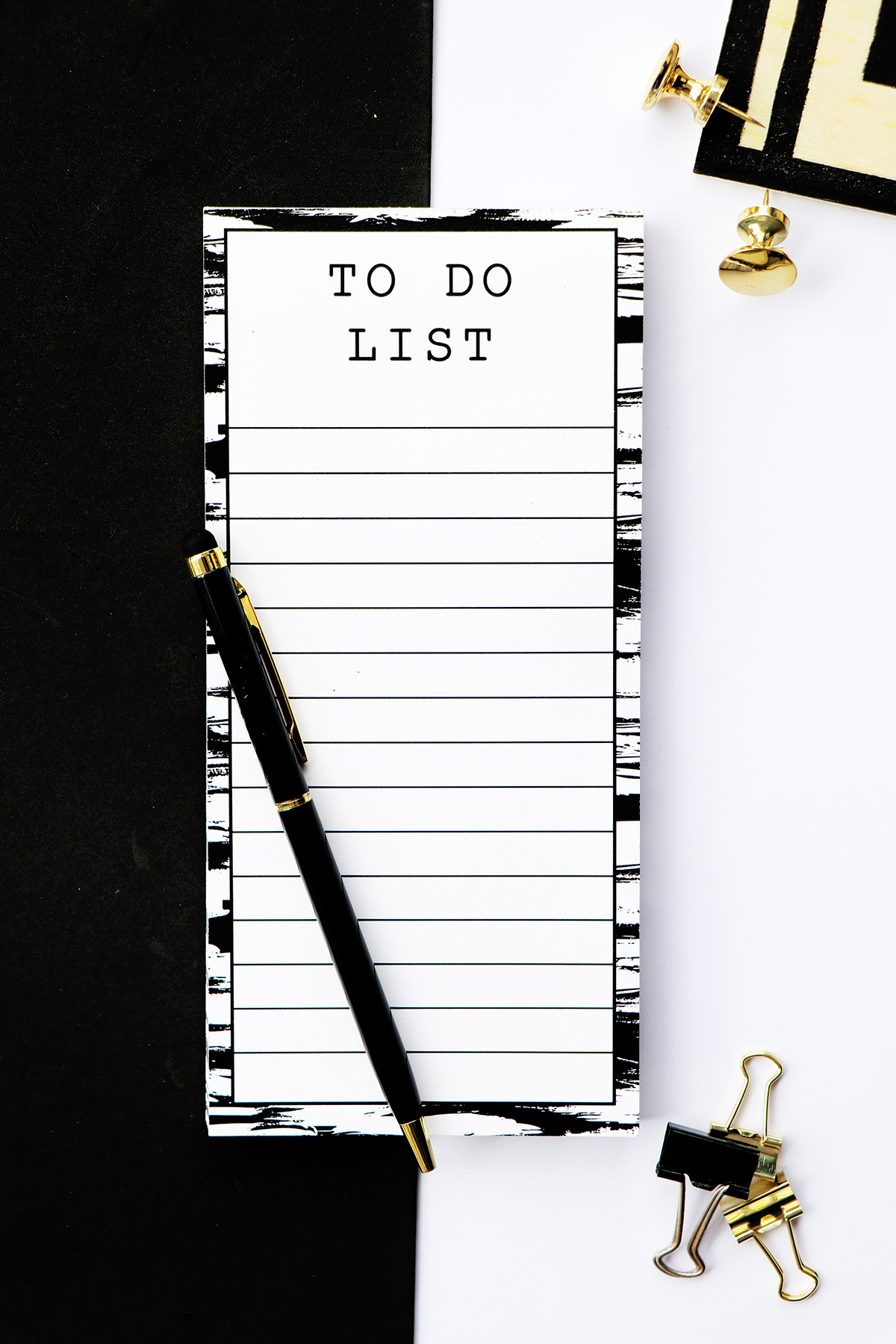 Monochrome Brushstrokes Magnetic To Do List | The Craftables Stationery
