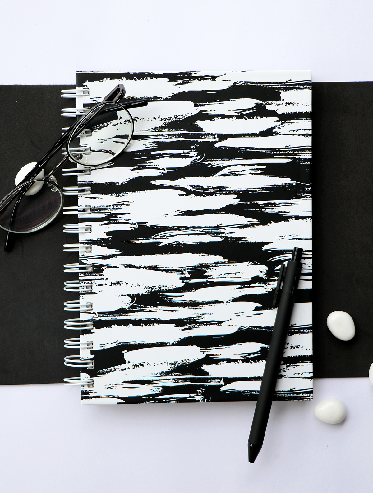 Monochrome Brushstrokes Spiral bound notebook | The Craftables Stationery