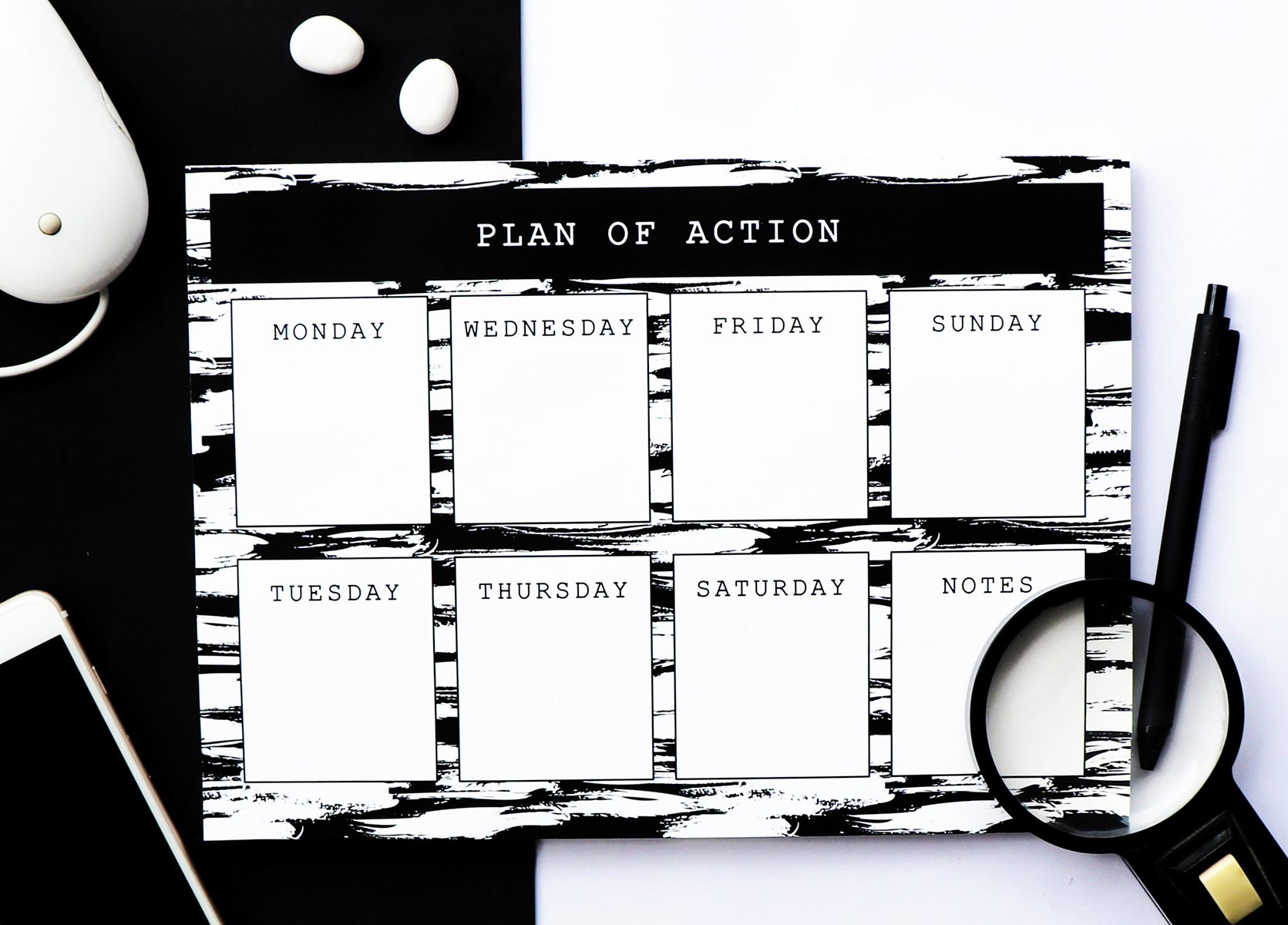 Monochrome Brushstrokes Weekly Planner | The Craftables Stationery