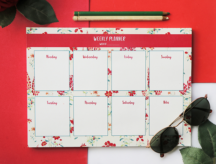 Wallflower Stationery Set   Rose Weekly Planner   The Craftables Stationery