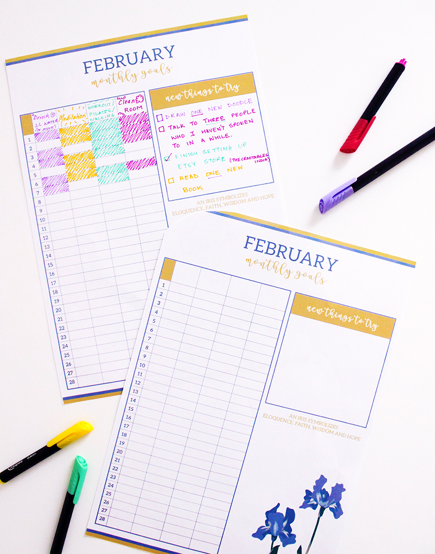 DIY Bullet Journal | Accomplish your goals | February Monthly Goals Printable | Iris Themed | The Craftables Printables
