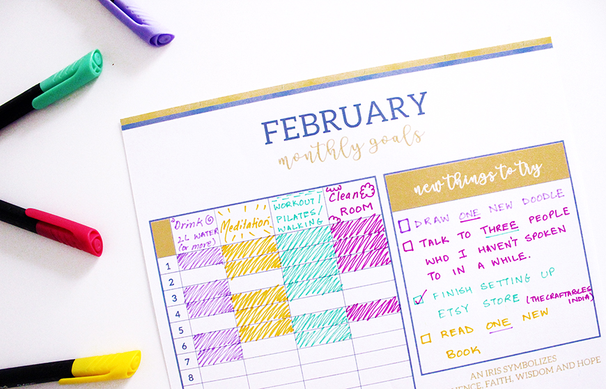 My Monthly Goals | Bullet Journal | February Monthly Goals Printable | Iris Themed | The Craftables Printables