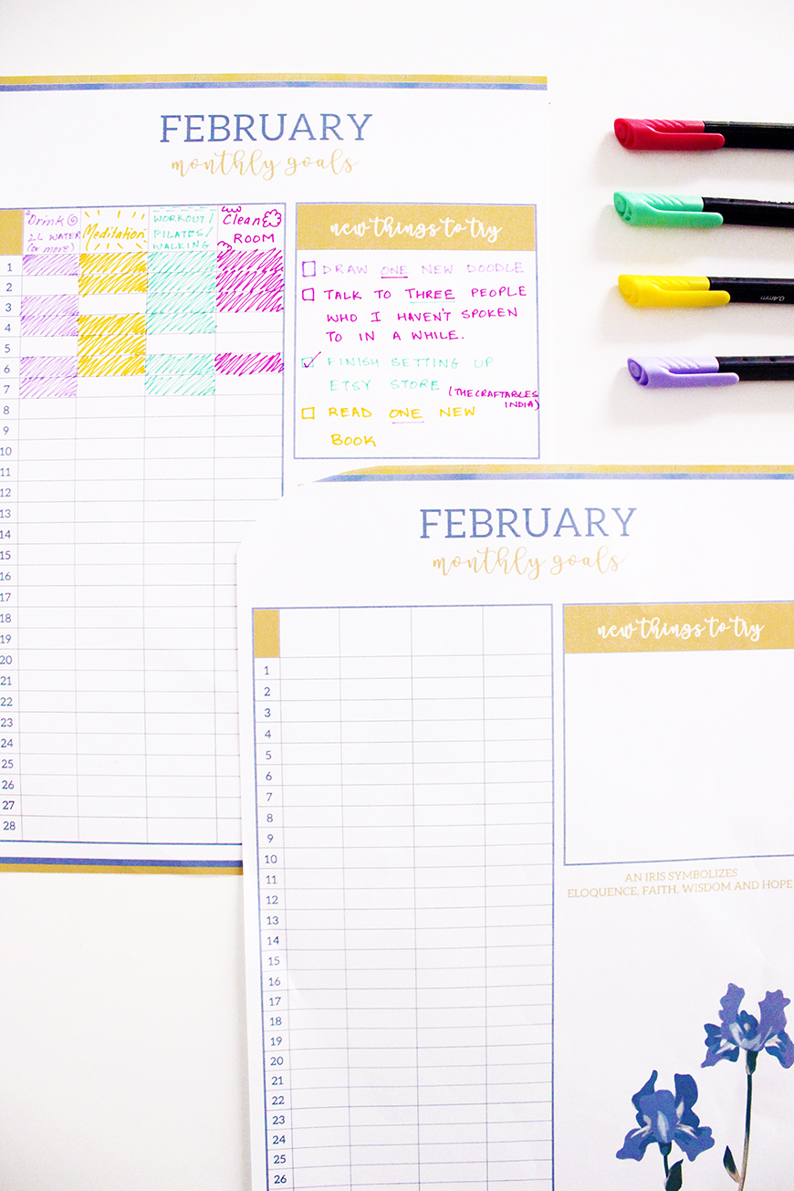 Personal Growth and self help with goal tracker | February Monthly Goals Printable | Iris Themed | The Craftables Printables