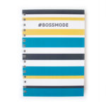 Bossmode Striped stationery _ Pewter Teal and Yellow _ Customsied stationery sets by The Craftables
