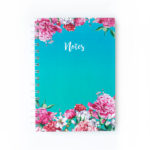 Bouquet hardbound Notebooks | Customised designs | Turquoise Ombre | Floral stationery by The Craftables