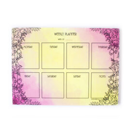 Ever After Weekly Planner in pink and yellow watercolour with floral line art _ Customised Wedding Stationery by The Craftables