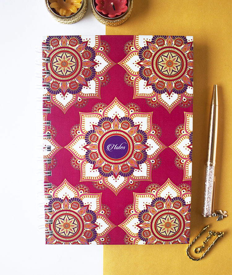 Mandala Fuschia Notebook _ Customised Stationery Notebooks, Journals and Binders _ The Craftables stationery