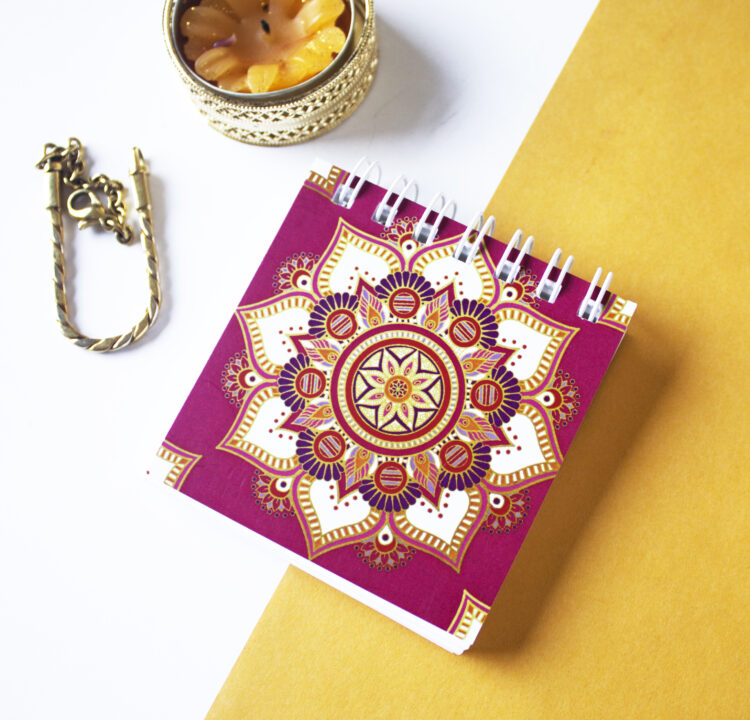 Mandala Mini Notepad _ Pink and gold notebooks for purses _ Stationery designs by The Craftables