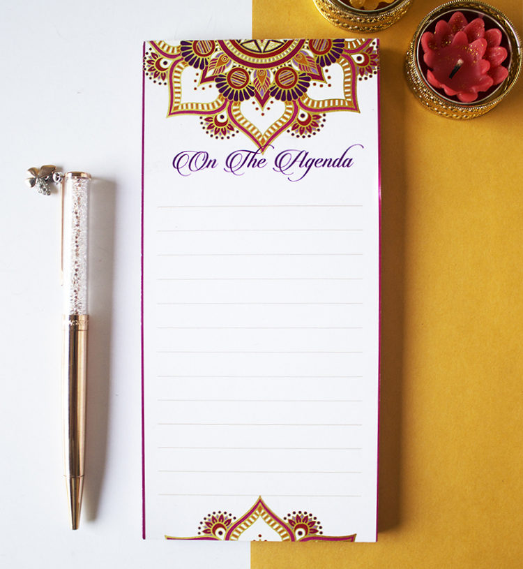 Mandala To Do List in Fuschia and Gold _ Stationery Sets for gifting by The Craftables