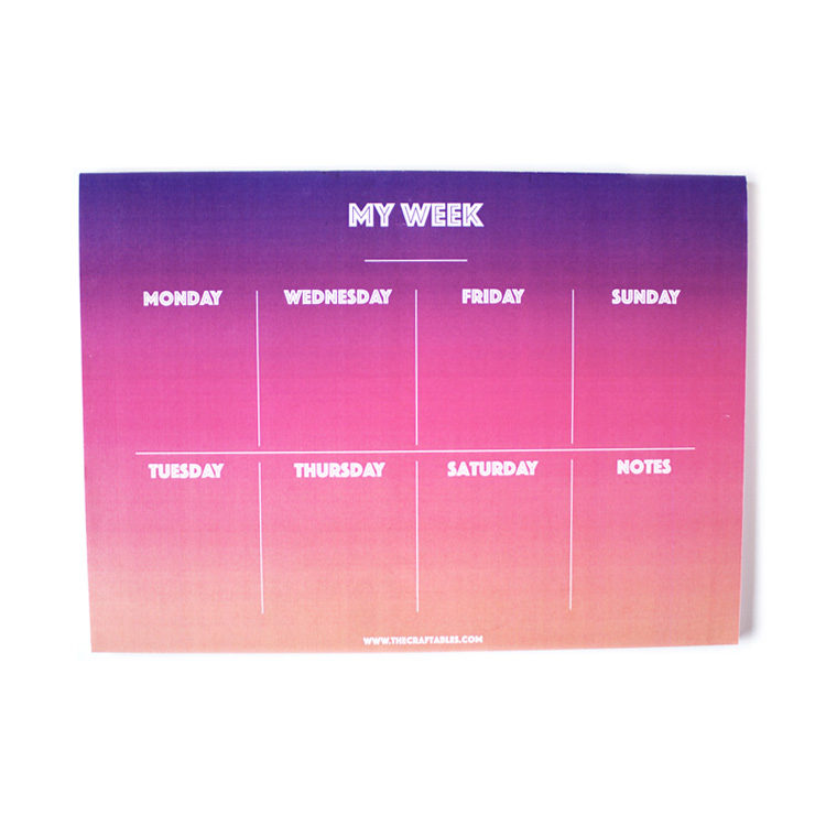 Ombre Sundowner Weekly Planner _ Customised stationery _ 7 Day Organizers by The Craftables