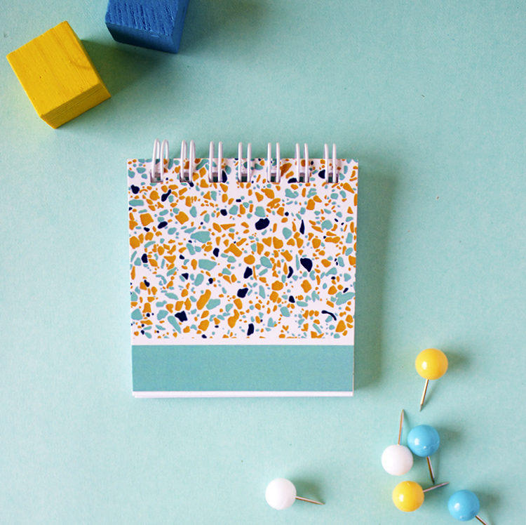 Terrazzo Parakeet Teal and Yellow Mini Notepad | Colourful stationery designs | Shop online by The Craftables