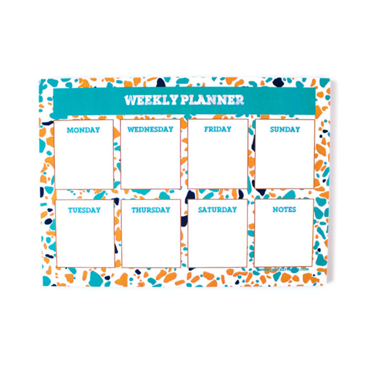 Terrazzo Weekly planner in teal and yellow | Colourful cute stationery by The Craftables