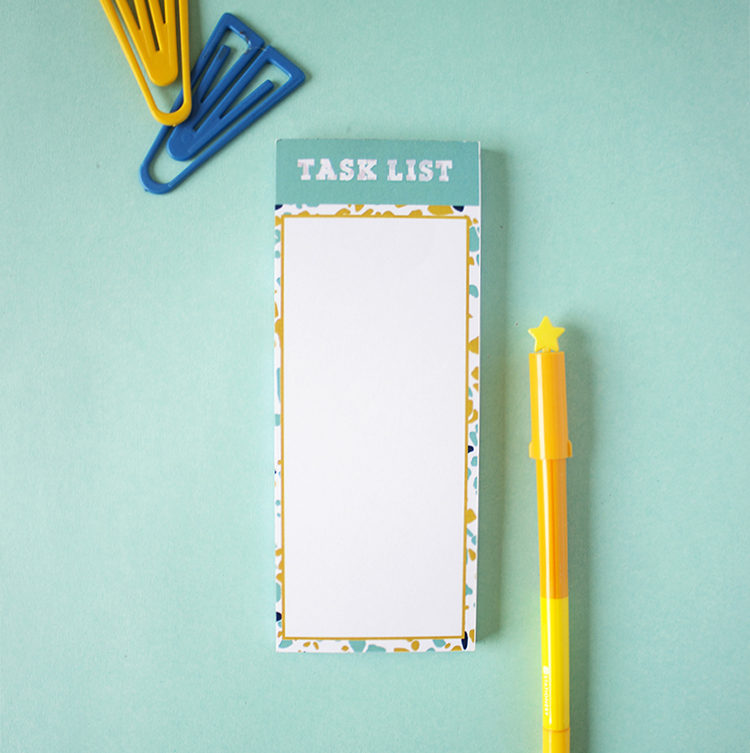 Terrazzo Yellow and Teal Stationery Bookmark Listpad | Purse friendly colourful notepads