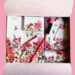 Bouquet Floral Stationery Gift Set | Personalised stationery set idea | Pink flower | The Craftables