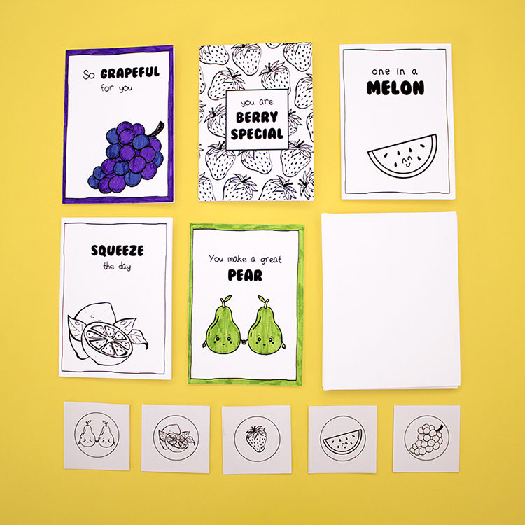 Craft ideas for kids | DIY colouring card kits | Fruitful theme | Puns | The Craftables Kits