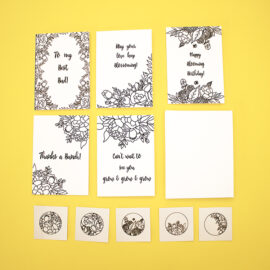 DIY Colouring Cards Set in Flower Power | Handmade Cards Kit by The Craftables