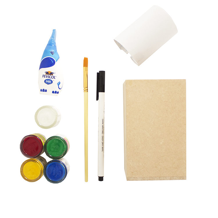 Materials to make a DIY erasable white board pen stand by The Craftables