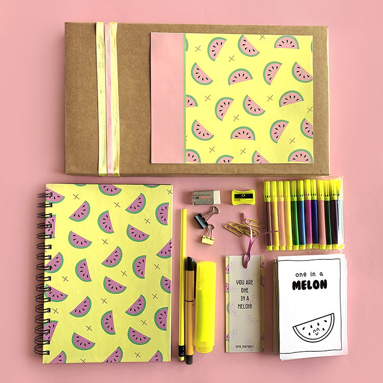 Melon Fresh Stationery Set | Watermelon print design | Stationery Kits Personalised | The Craftables