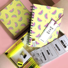Melon Fresh Stationery Set with notebook colouring cards pens and stationery | The Craftables Kits