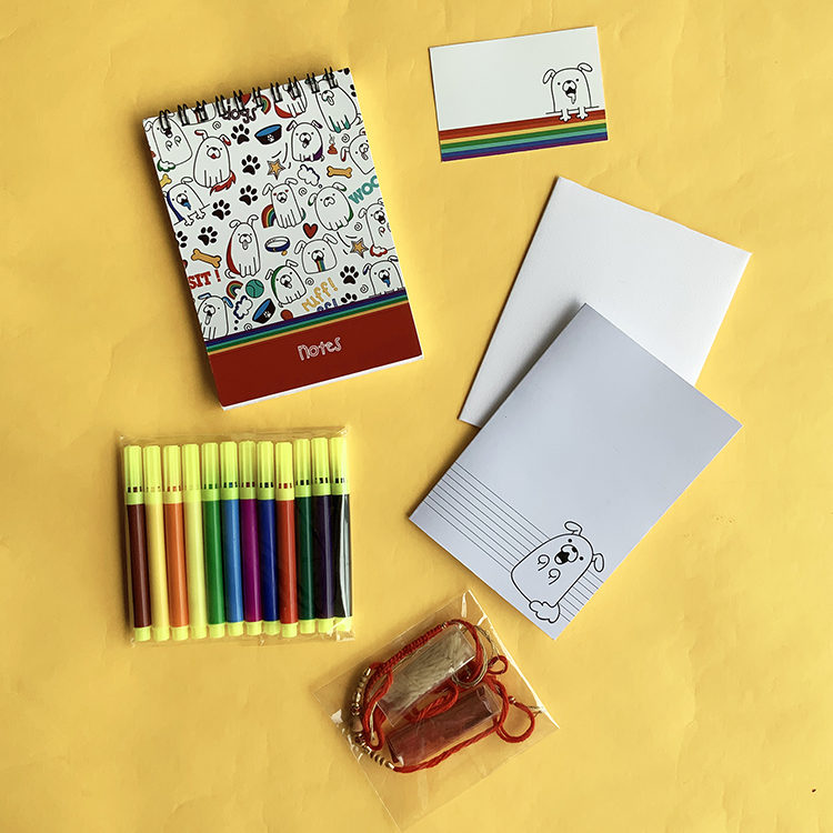 Puppers Stationery Gift Set for Boys | Limited Edition Rakhi gift set | The Craftables