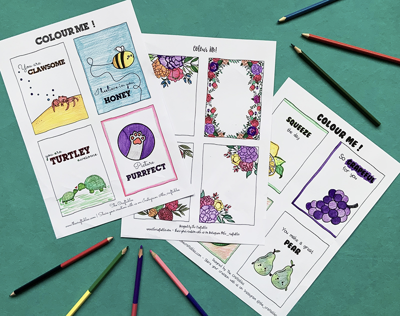Colouring Sheet DIY activity for kids   The Craftables colouring cards   Pun compliments
