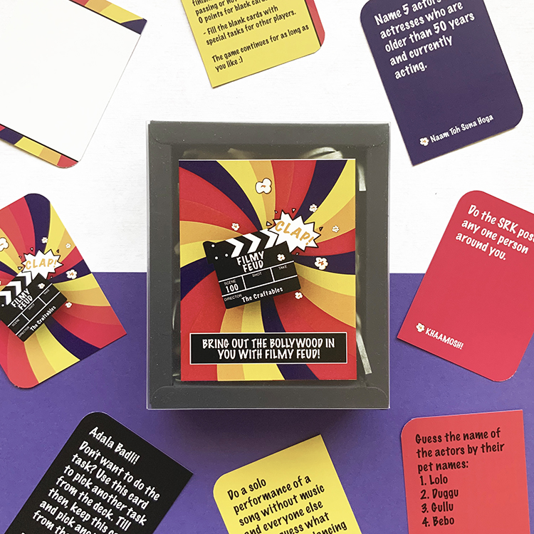 Filmy Feud Card Game | Bollywood card games for parties | The Craftables themed hindi game