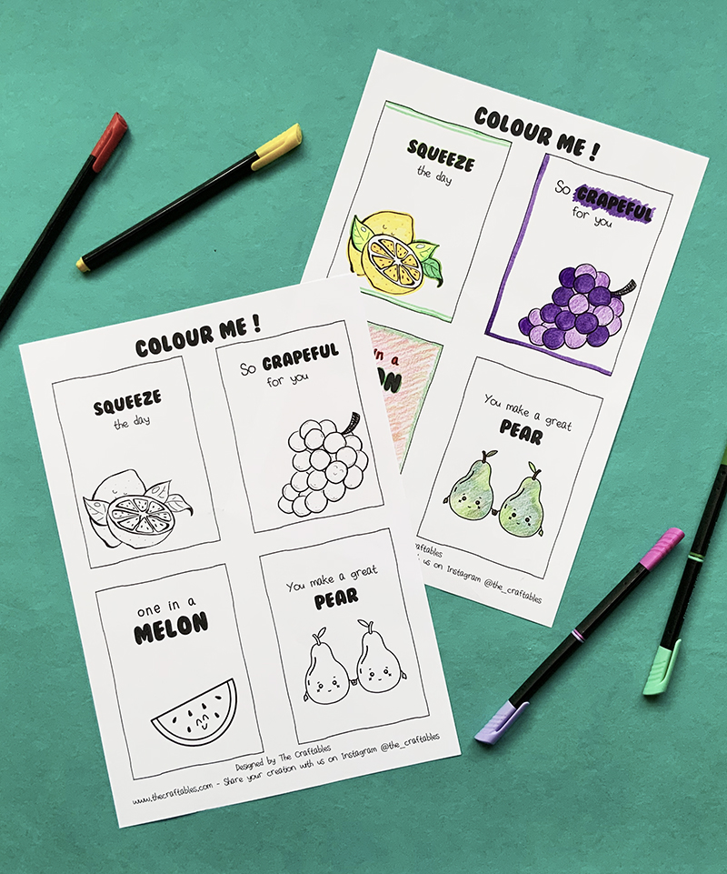 Fruity Colouring Sheets   Compliment Puns   The Craftables design