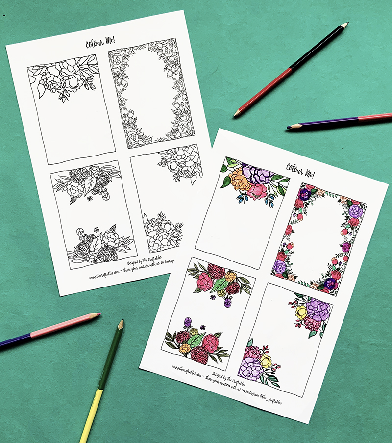 Print and use compliment cards | floral design | Adult colouring sheets | The Craftables